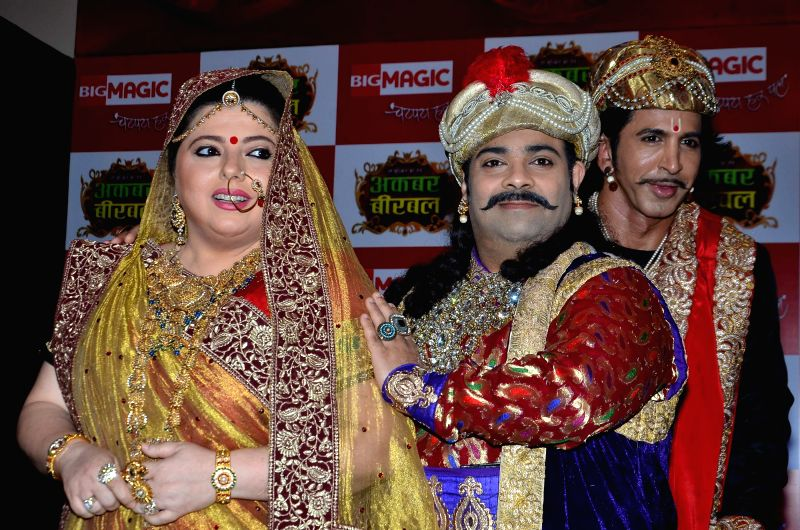 Television actors Delnaaz Irani, Kiku Sharda and Vishal Kotian during the launch of Big Magic channel new show Chatur aur Chalak, Birbal aur Viraat, in Mumbai on Jan. 30, 2015. - Delnaaz Irani, Kiku Sharda and Vishal Kotian
