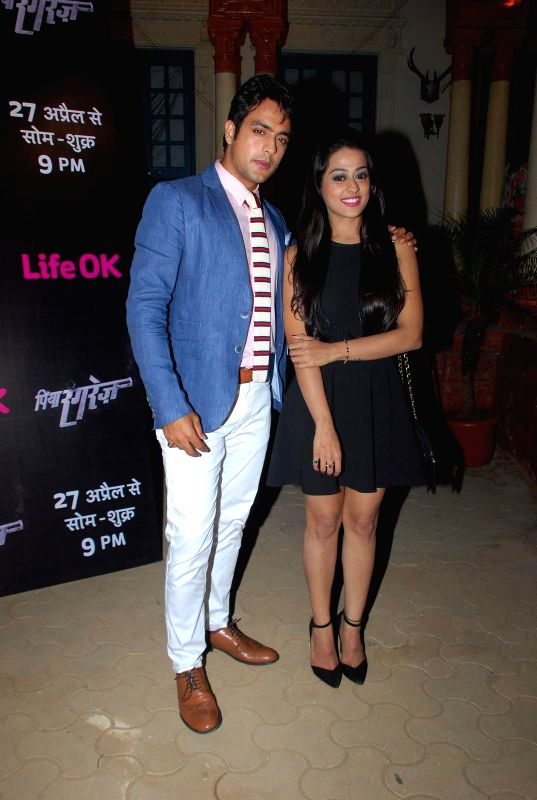 Television actors Kirtida Mistry, Gaurav S Bajaj during the first screening of television channel Life Ok new show Piya Rangrezz in Mumbai, on April 27, 2015. - Kirtida Mistry and Gaurav S Bajaj