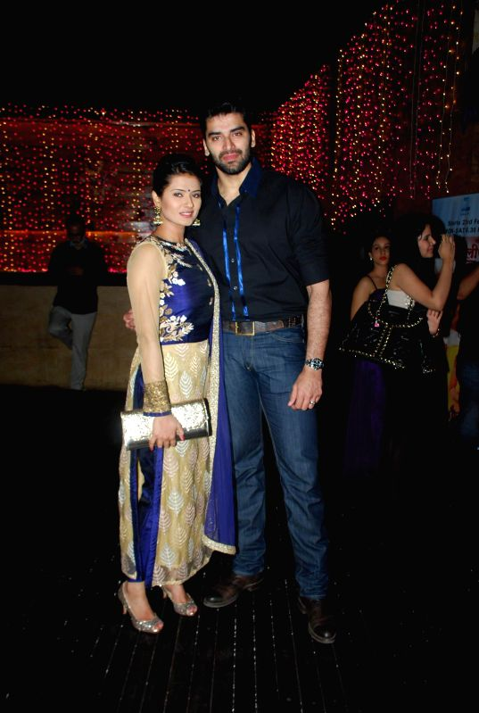 Television actors Kratika Sengar and Nikitin Dheer during the launch party of Zee TV new show Service Wali Bahu in Mumbai on Feb 23, 2015. - Kratika Sengar and Nikitin Dheer