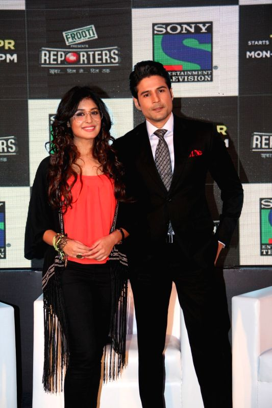 Television actors Rajiv Khandelwal and Kirtika Kamra during the launch of Sony TV`s new serial Reporters in Mumbai on April 9, 2015. - Rajiv Khandelwal and Kirtika Kamra