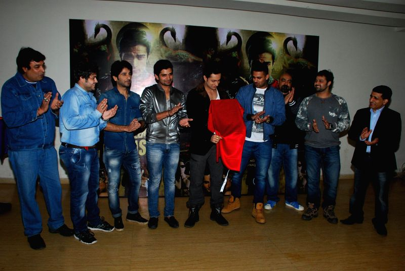 "Television actors Sachin Chhabra, Vishal Singh, singers Shaleen Bhanot and Jaz Dhami during the launch of music album ""Kamasutra"" in Mumbai, on Jan. 15, 2015. - Sachin Chhabra and Vishal Singh"