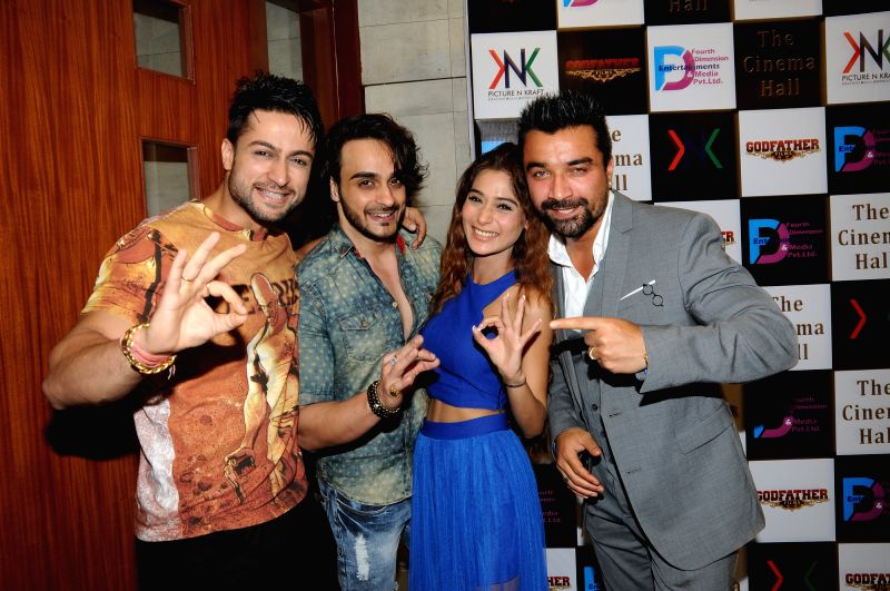 Television actors Shaheen Bhanot, Angad Hasija, Bollywod actors Sara Khan and Ajaz Khan during the announcement of new Film, The Cinema Hall, in Mumbai, on April 17, 2015. - Shaheen Bhanot, Angad Hasija, Bollywod, Sara Khan and Ajaz Khan