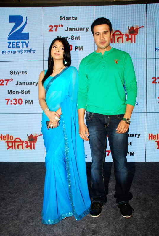 Television actors Tarul Swami and Snigdha Pandey during the launch of television serial Hello Pratibha in Mumbai, on Jan. 19, 2015. - Tarul Swami and Snigdha Pandey