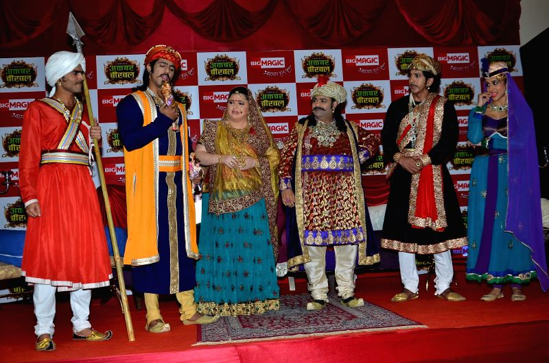 Television actors Thakur Anoop Singh, Delnaaz Irani, Kiku Sharda, , Vishal Kotian and Kishwar Merchant during the launch of Big Magic channel new show Chatur aur Chalak, Birbal aur Viraat, in - Thakur Anoop Singh, Delnaaz Irani and Kiku Sharda