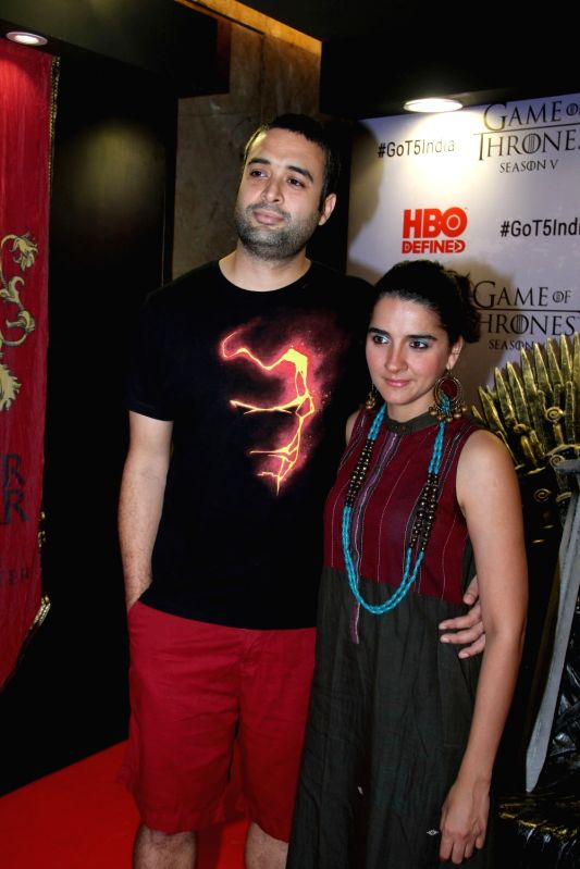 Television actress Shruti Seth along with her husband and director Danish Aslam at the premiere of film `Game of Thrones` Season 5 in Mumbai on April 9, 2015. - Shruti Seth