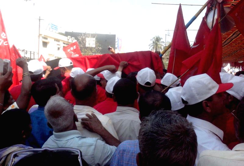 The activists of Communist Party of India (CPI) organised a rally in support of Communist leader Govind Pansare in Mumbai on Feb 21, 2015. Veteran Left leader Govind Pansare who was shot at ...