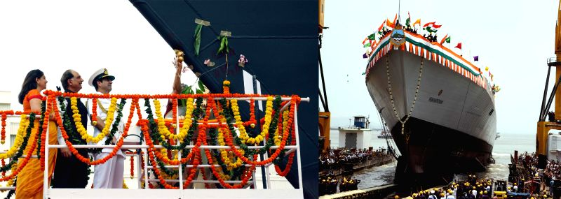 The Chief of Naval Staff, Admiral R K Dhowan at the launching ceremony of the 15B, Guided Missile Destroyer, christened `Visakhapatnam`, at Mazagaon Dock Limited (MDL), in Mumbai on ...