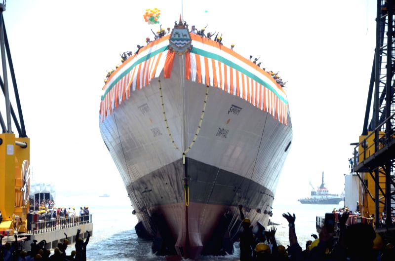 Mumbai: The Guided Missile Destroyer 'Imphal' after it was launched at Mazagon Dock Shipbuilders Limited in Mumbai, on April 20, 2019. (Photo: IANS)