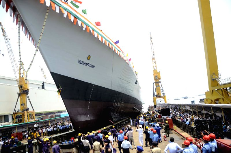 The launching ceremony of the 15B, Guided Missile Destroyer, christened `Visakhapatnam`, at Mazagaon Dock Limited (MDL), in Mumbai on April 20, 2015.