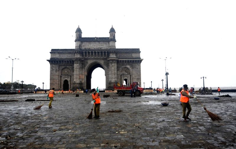 Mumbai:  The Maharashtra state capital was largely spared from any major damage as cyclone tauktae the most powerful storm to hit the region in more than two decades, aftermath heavy rainfall in Mumbai on Monday 18 May 2021 (Photo : Sandeep Mahankal/