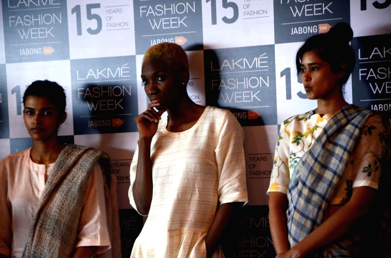 The models who will be showcasing designer Anavila Misra's collection in the upcoming `Lakme Fashion Week 2015` during rehearsals  in Mumbai on March 13, 2015.