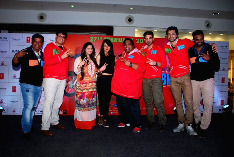 The star cast of film Hey Bro during the promotion of his film Hey Bro in Mumbai, on Feb 14, 2015.