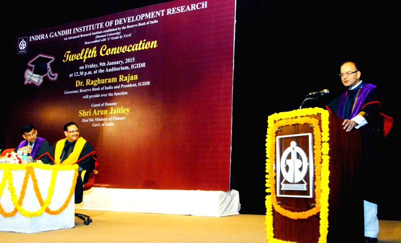 The Union Minister for Finance, Corporate Affairs and Information and Broadcasting, Arun Jaitley addresses at the 12th convocation of Indira Gandhi Institute of Development Research, in ... - Arun Jaitley