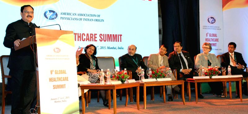 The Union Minister for Health and Family Welfare, Jagat Prakash Nadda addresses at the `Global Health Summit: Access and Affordable Healthcare for People of India`, organised by the American .