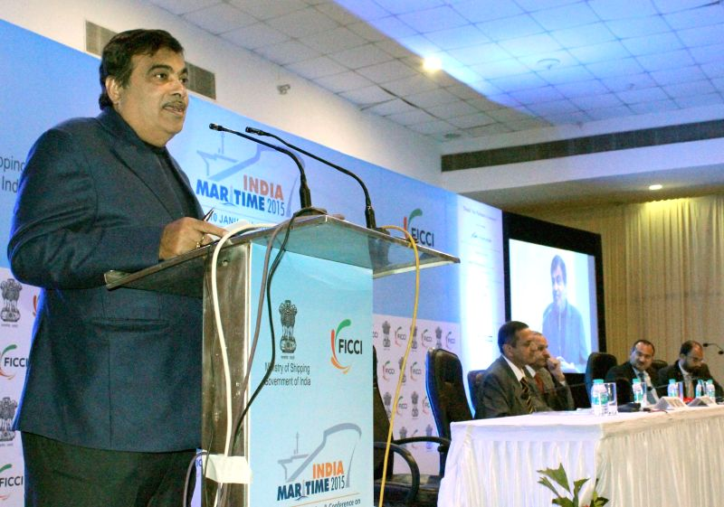 The Union Minister for Road Transport and Highways and Shipping, Nitin Gadkari addresses at the inaugural function of the `India Maritime 2015` International Exhibition and Conference on ...