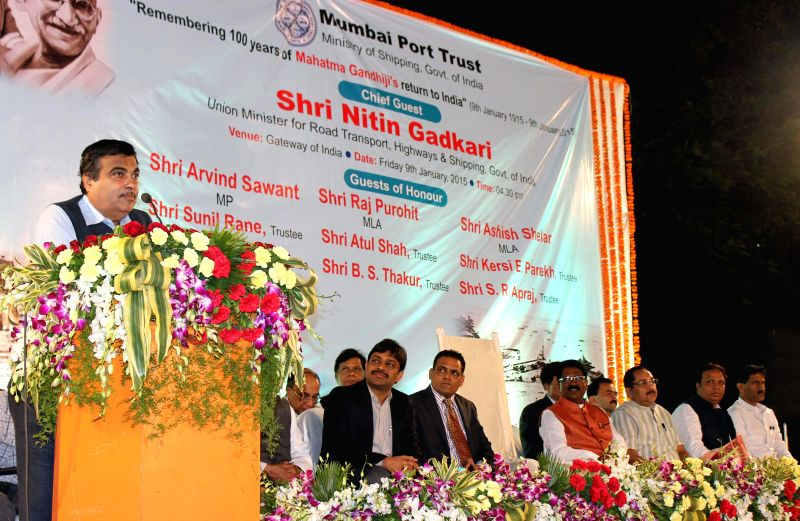 The Union Minister for Road Transport and Highways and Shipping, Nitin Gadkari addresses during a programme organised to mark the `100 years of Mahatma Gandhi's return to India`, in Mumbai .