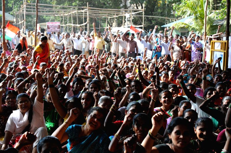 Tribals stage a demonstration at the Azad Maidan of Mumbai on April 24, 2015.