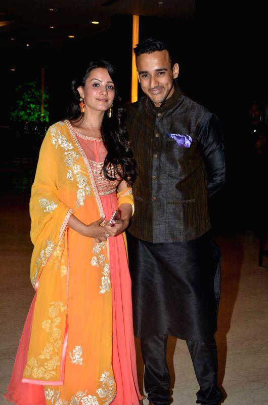 TV actress Anita Hassanandani with her husband during Karan Patel and Ankita Bhargava`s engagement and sangeet ceremony at the Novotel Hotel in Juhu, Mumbai on 1st May, 2015. - Anita Hassanandani