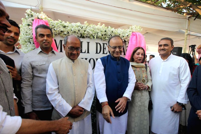 Union Minister for Finance, Corporate Affairs and Information and Broadcasting, Arun Jaitley with Congress leaders Digvijay Singh, Milind Deora and NCP leader Praful Patel during the ... - Arun Jaitley, Digvijay Singh and Praful Patel