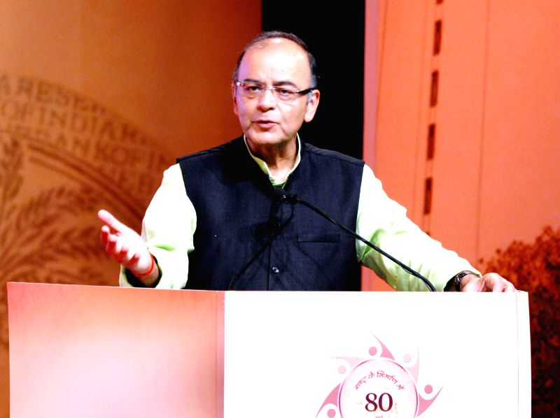 Union Minister for Finance, Corporate Affairs and Information and Broadcasting, Arun Jaitley addresses at the Financial Inclusion Conference of RBI, in Mumbai on April 2, 2015.