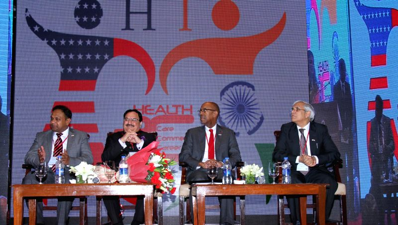 Union Minister for Health and Family Welfare J P Nadda at the ``H3C Health Sciences Innovation Conference``, in Mumbai on Jan. 15, 2015. Also seen Prof. Michael Drake, the President, Ohio ... - M C Mishra