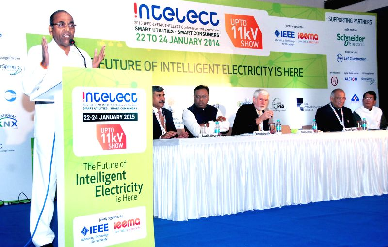 Union Minister for Heavy Industries and Public Enterprises Anant Geete addresses at `INTELECT-2015 & UPTO 11kv` International exhibition, in Mumbai on Jan 22, 2015.