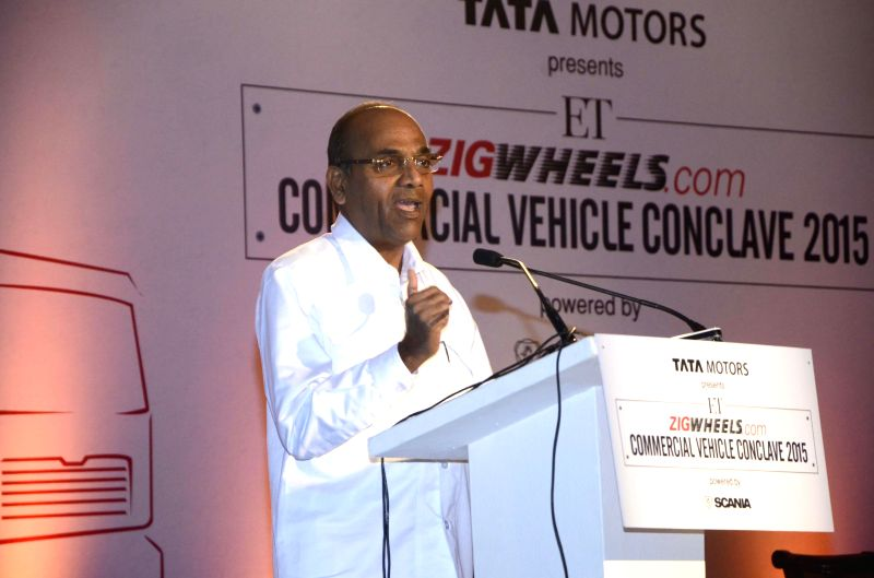Union Minister, Heavy Industries and Public Sector Enterprises Anant Geete addresses at the Commercial Vehicles Conclave 2015 in Mumbai, on Feb 16, 2015.