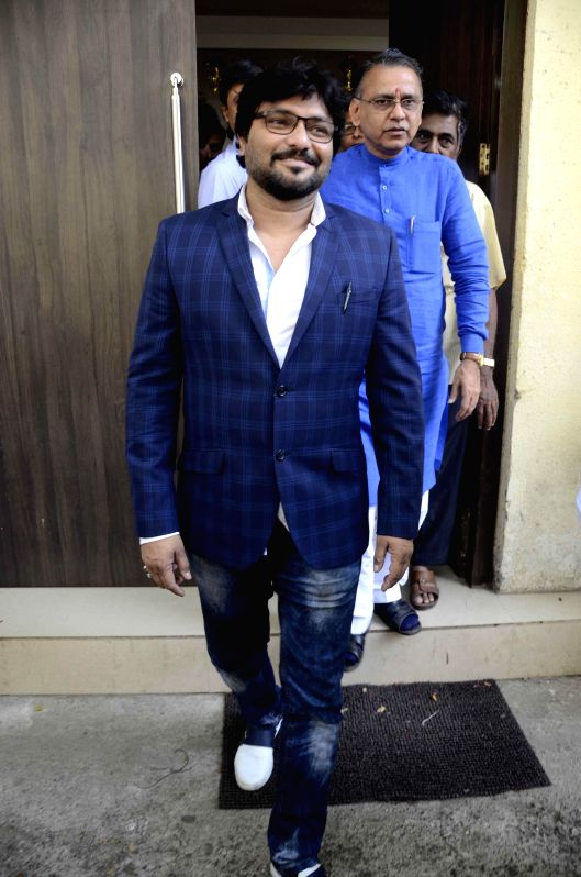 Union MoS for Urban Development, and Housing and Urban Poverty Alleviation Babul Supriyo arrives at BJP head office in Mumbai, on Nov 21, 2014.