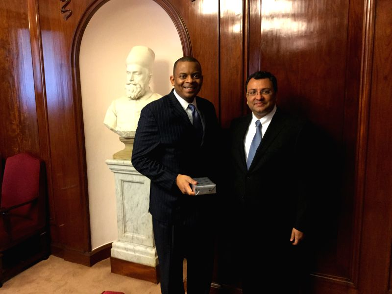 US Secretary of Transportation Anthony Foxx with Tata Sons Chairman Cyrus P. Mistry at Bombay House, the head quarters of the Tata Group, in Mumbai, on April 10, 2015.