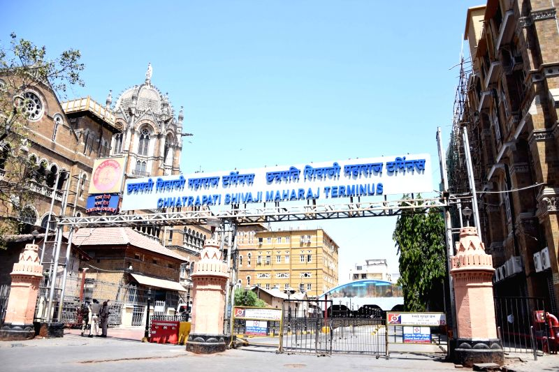 Mumbai: Usually crowded Chhatrapati Shivaji Maharaj Terminus Central Railway Station bears a deserted look during 'Janata Curfew' imposed in the wake of increasing cases of COVID-19, in Mumbai on March 22,2020. (Photo: IANS)