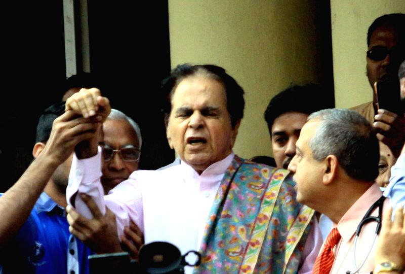Veteran actor Dilip Kumar after being discharged from the Lilavati Hospital where he was being treated following a bout of pneumonia, in Mumbai, on Dec 11, 2014.