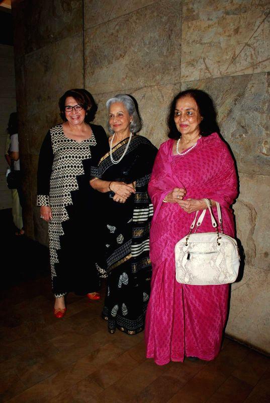 Veteran actresses Helen, Waheeda Rehman and Asha Parekh during a special screening of the film `Tanu Weds Manu Returns` in Mumbai on May 25, 2015. - Helen, Waheeda Rehman and Asha Parekh