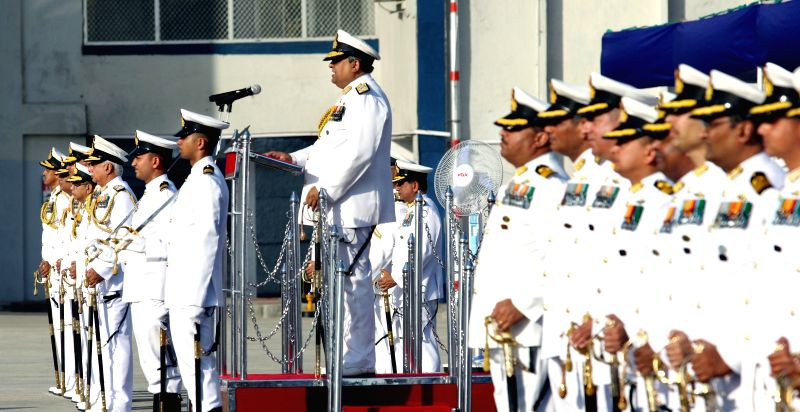 Vice Admiral Anil Chopra addresses during a programme organised on the last day of his service in Mumbai, on March 31, 2015. - Admiral Anil Chopra