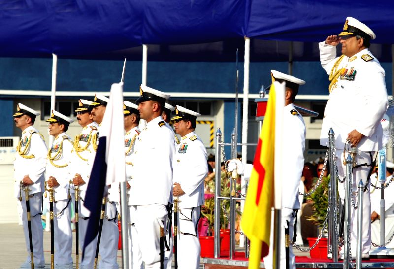 Vice Admiral Anil Chopra during a navy programme organised on the last day of his service in Mumbai, on March 31, 2015. - Admiral Anil Chopra