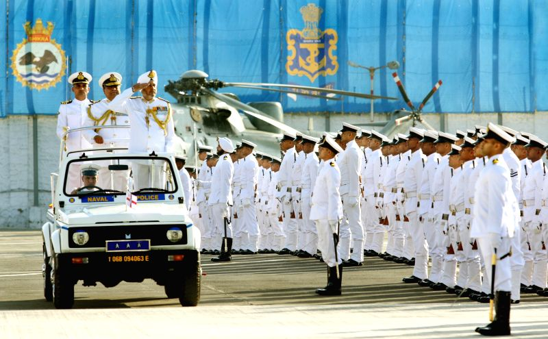 Vice-Admiral Surinder Pal Singh Cheema, who took over as the Flag Officer Commanding-in-Chief (FOC-in-C) of Western Naval Command inspects guard of honour during a navy programme in Mumbai, ...