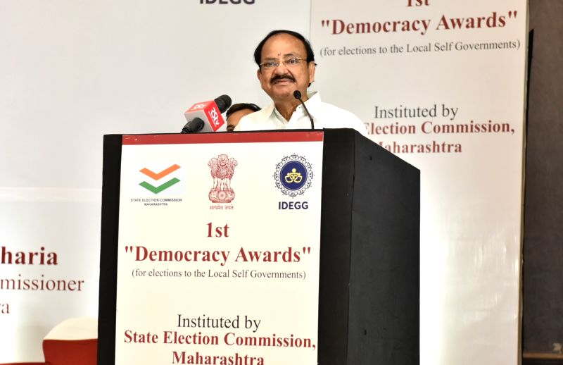 Mumbai: Vice President M. Venkaiah Naidu addresses after presenting the 1st Democracy Awards instituted by the State Election Commission, Maharashtra in Mumbai on July 27, 2019. (Photo: IANS/PIB)