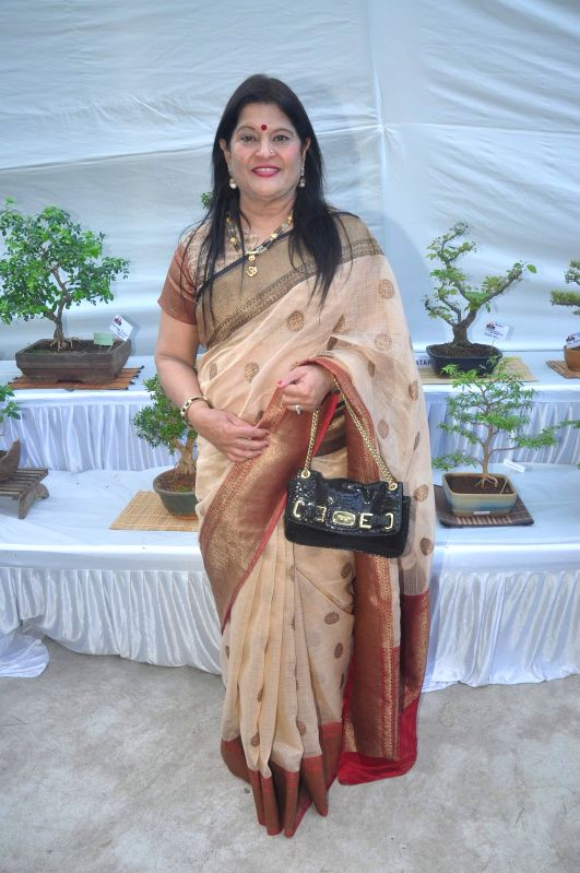Vice President of India Friendship Bonsai Society Urvashi Thacker during the Inauguration of Exotic Bonsai and Ikebana Exhibition in Mumbai on Feb 27, 2015.
