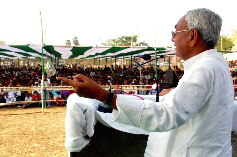 Munger: Bihar Chief Minister Nitish Kumar addresses during an election rally ahead of Lok Sabha Polls in Bihar's Munger, on April 22, 2019.