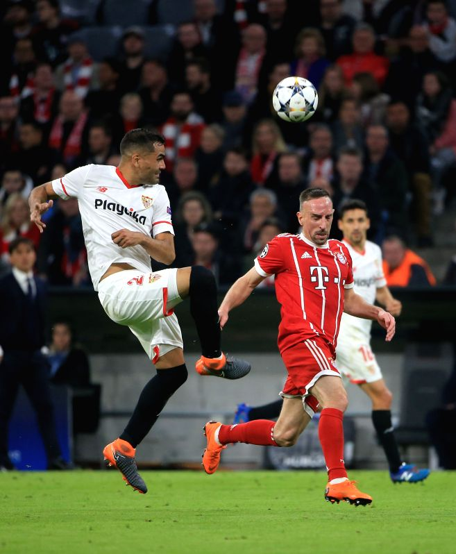 MUNICH, April 12, 2018 - Bayern Munich's Franck Ribery (R) vies with Sevilla's Gabriel Mercado during the UEFA Champions League quarterfinal second leg soccer match between Bayern Munich of Germany ...