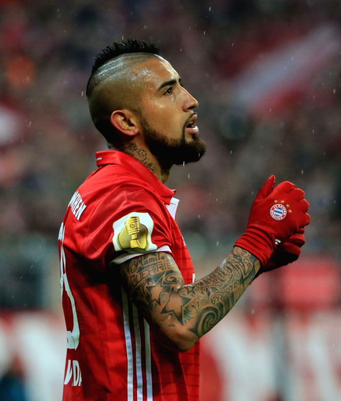 MUNICH, April 27, 2017 - Bayern Munich's Arturo Vidal reacts during a semifinal match of German Cup between Bayern Munich and Borussia Dortmund in Munich, Germany, on April 26, 2017. Borussia ...