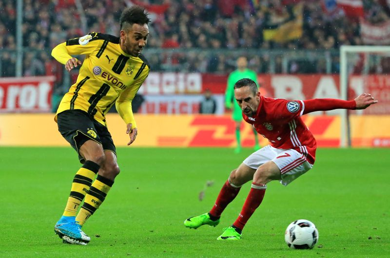 MUNICH, April 27, 2017 - Borussia Dortmund's Pierre-Emerick Aubameyang (L) vies with Bayern Munich's Franck Ribery during a semifinal match of German Cup between Bayern Munich and Borussia Dortmund ...