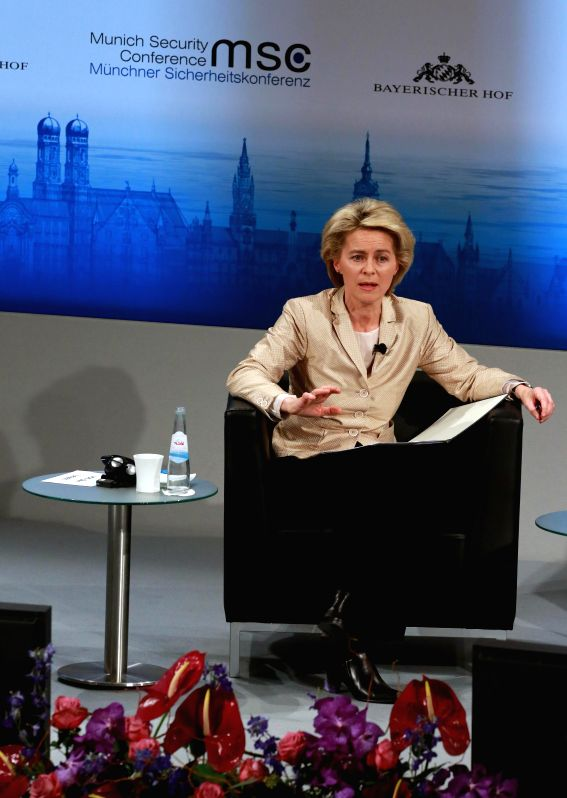 German Defence Minster Ursula von der Leyen attends the opening ceremony of the Munich Security Conference (MSC) in Munich, Germany, Feb. 6, 2015. (Xinhua/Luo ...