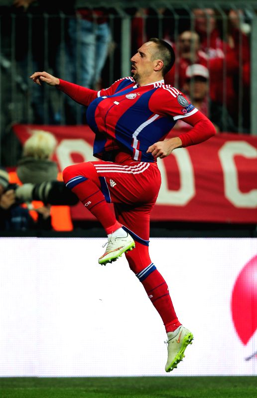 Bayern Munich's Franck Ribery celebrates scoring during the UEFA Champions League Round of 16 second leg match against Shakhtar Donetsk in Munich, Germany, on March ...
