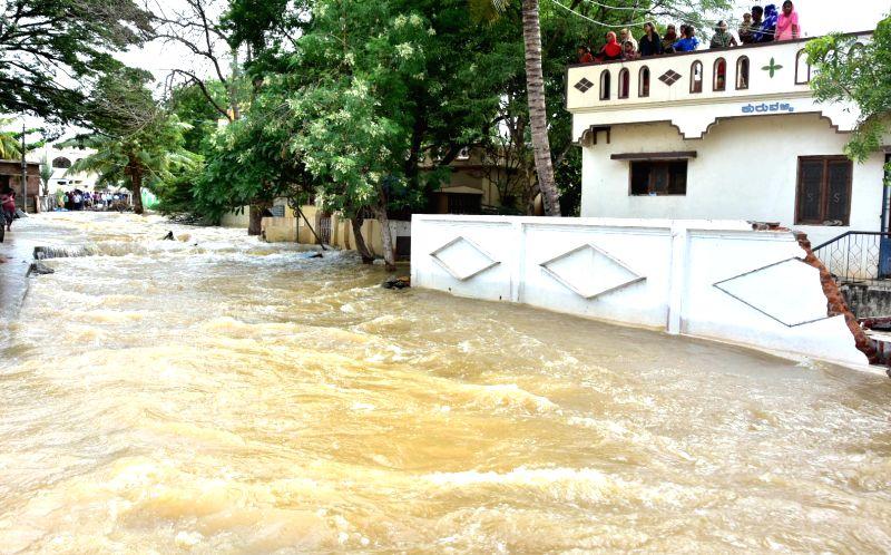 Munirabad: A view of flooded Munirabad in Karnataka's Ballari on Aug 14, 2019.