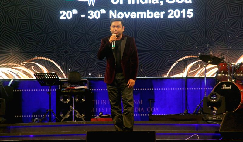 Music composer A R Rahman performs at the closing ceremony of the 46th International Film Festival of India (IFFI-2015), in Panaji, Goa on Nov 30, 2015.
