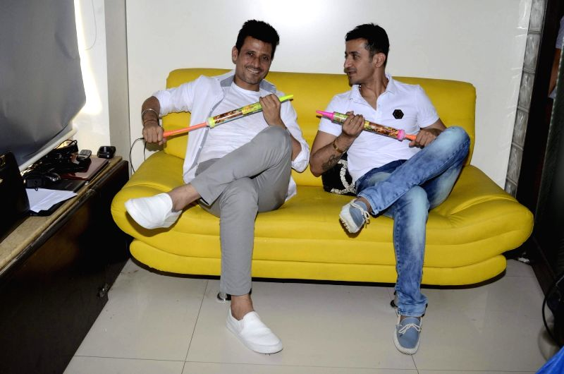 Music composer Meet Brothers during the Holi celebrations in Mumbai on March 6, 2017.
