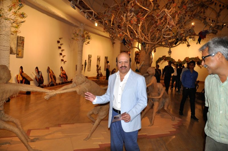 Music composer Rajesh Roshan visits tribal museum during Madhya Pradesh Foundation Day in Bhopal, on Nov 1, 2015.