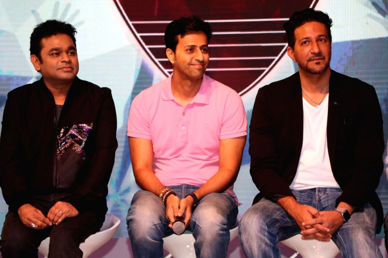 Music composers A R Rahman, Salim Merchant and Sulaiman Merchant during a musical collaboration with YouTube in association with Qyuki in Mumbai on Aug 10, 2016.