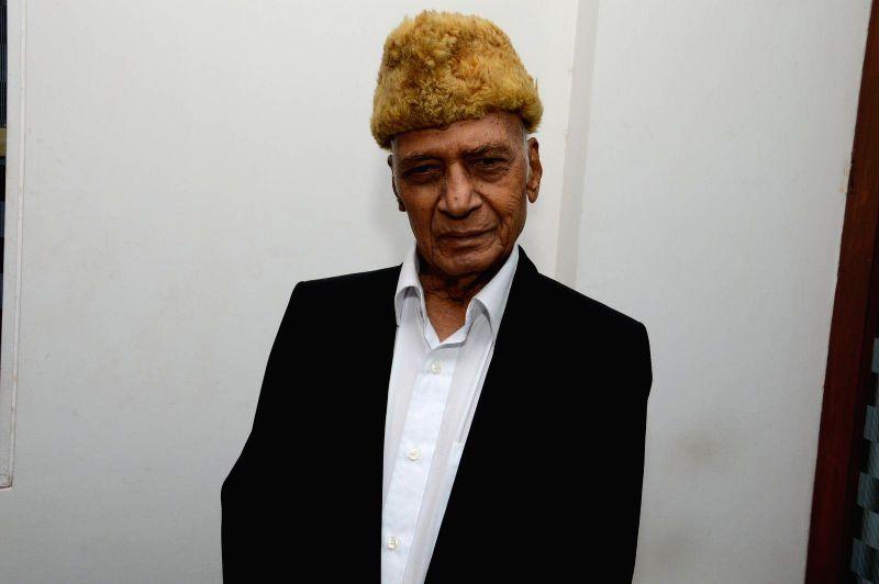 Music director Khayyam Sahab during a press meet of film Bazaar-E-Husn based on Munshi Premchandji's Urdu novel in Mumbai on July 11, 2014.