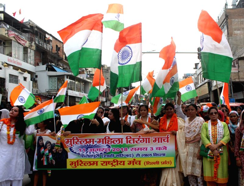 Muslim women take out a Tiranga Yatra ahead of Independence Day, in New Delhi on Aug 11, 2018.